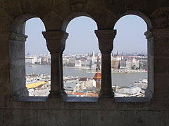 "The sight from one of the corridors from Fisherman's Bastion (""Halászbástya"") - Budapešť, Maďarsko"