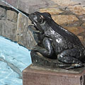 One of the four bronze frogs of the fountain - Jászberény, Maďarsko