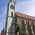 "The gothic Downtown Parish Church, former Franciscan church of medieval origin in Keszhely (officially Our Lady of Hungary Parish, in Hungarian ""Magyarok Nagyasszonya Plébániatemplom"") - Keszthely, Maďarsko"