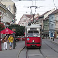 Red tram 2 on the main street - Miskolc, Maďarsko