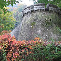 A bastion-like retaining wall of a terrace in the hanging gardens - Miskolc, Maďarsko