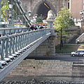 The lower embankment in Buda and the Buda Castle Tunnel, viewed from the Chain Bridge - Budapeşte, Macaristan