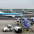 An airliner of the KLM airways is preparing for take-off (Boeing 737) - Amsterdam, Olanda