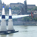 The French Nicolas Ivanoff is rushing with his plane over the Danube River in the Red Bull Air Race in Budapest - Budapesta, Ungaria