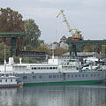 """The powered boat called """"Debrecen"""" in the harbour of the factory - Budapeste, Hungria"""