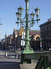 One of the ornate four-way lamp posts of the Liberty Bridge - Budapest, Hongrie