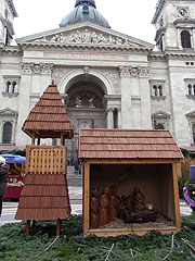 Nativity scene (Bethlehem's manger scene), a wood-made genre art at the St. Stephen's Basilica - Budapest, Hongrie