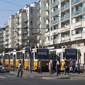 Tram stop and modern residental buildings - Budapest, Hongrie