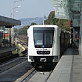 A new white Alstom metro train - Budapest, Hongrie