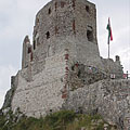 The pentagonal Keep (fortified residental tower) in the Upper Castle - Csesznek, Hongrie
