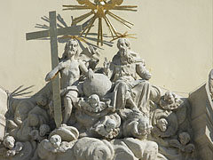 Holy Trinity statue over the door of the Inner City Parish-Church - Budapeszt, Węgry