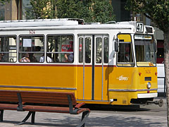 A yellow tram No.47 in the station - Budapeszt, Węgry