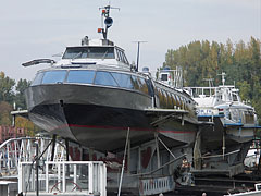 "Two passenger hydrofoil boats, the ""Quicksilver"" and the ""Vöcsök IV"" in the dry dock - Budapeszt, Węgry"