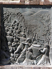 """""""Defenders of the Eger Castle"""", bronze relief on the wall at the main gate - Eger (Erlau), Ungarn"""