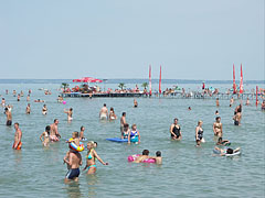 Bathing people of all ages in the pleasantly shallow water - Siófok, Ungarn