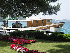 A fishing boat is berthed in the harbor, and a small park is in in front of it - Slano, Kroatia