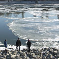 Bigger and bigger ice floes floating down the river  - Boedapest, Hongarije