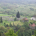 The view of the cemetery and the small church from 1810 from the hillside - Komlóska, Hongarije