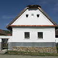 Pure white facade of the dwelling house from Perkupa - Szentendre, Hongarije
