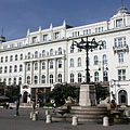The Gerbeaud House with the fountain with the four stone lions in front of it - Budapest, Ungari