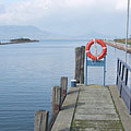 The boat station with a lifebelt on the railing - Fonyód, Ungari