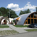 The visitor center and the protective building of the prehistoric trees from Bükkábrány - Ipolytarnóc, Ungarn