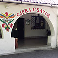 Hungarian motifs at the vaulted entrance and porch of Cifra Csárda Inn, on the wall - Nagykőrös, Ungarn