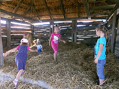 "Kids are playing in the straw (in the barn of the ""common yard of the Palóc kin"") - Szentendre, Ungarn"