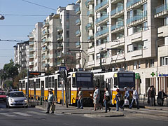 Tram stop and modern residental buildings - Budapest, Ungern