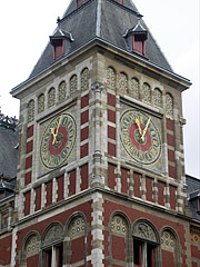 The tower of the Centraal Station (Central Train Station) - Amsterdam, Netherlands