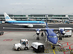 An airliner of the KLM airways is preparing for take-off (Boeing 737) - Amsterdam, Netherlands