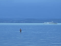 Bathing in the Balaton Lake before a great storm - Balatonföldvár, Hungary