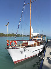 """Őszöd"" powered sailing yacht in the harbor - Balatonfüred, Hungary"