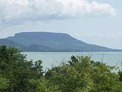 "The typical flat-topped Badacsony Hill and Lake Balaton, viewed from ""Szépkilátó"" lookout point in Balatongyörök - Balatongyörök, Hungary"