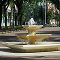 The new so-called Rose Fountain in the square in front of the Roman Catholic church - Békéscsaba, Hungary