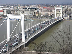 The Elisabeth Bridge (or Elizabeth Bridge) and the spring flooding of Danube River, viewed from the Gellért Hill - Budapest, Hungary
