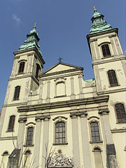 The facade of the Inner City Parish Church was yellow before the renovation - Budapest, Hungary