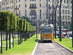A tram 47 on the landscaped roundroad - Budapest, Hungary
