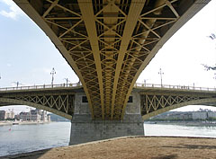 The Margaret Bridge is a three-way bridge (or tri-bridge, it has three wings), it is clearly visible on this picture - Budapest, Hungary