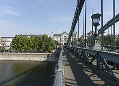 "The walkway of the Chain Bridge (""Lánchíd""), looking towards Pest - Budapest, Hungary"