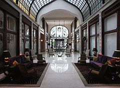 The nicely furnished lobby of the luxury hotel - Budapest, Hungary