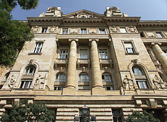 The western facade of the historicist and Art Nouveau style Hungarian National Bank building - Budapest, Hungary
