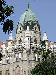 The corner turret of the castle-like so-called Sváb House or Swabian House - Budapest, Hungary