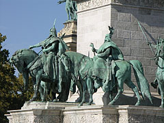 Statues of Árpád Grand Prince of the Hungarians and the conquering ancestors on the Millenium Memorial - Budapest, Hungary