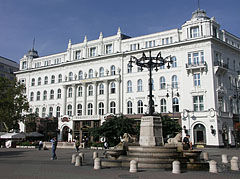 The Gerbeaud House with the fountain with the four stone lions in front of it - Budapest, Hungary