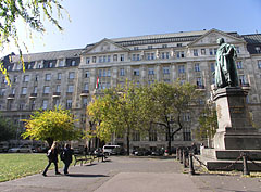 """Statue of Archduke Joseph, Palatine of Hungary (""""Habsburg József nádor""""), who the square is named after, as well as the palace of the Ministry of Finance - Budapest, Hungary"""