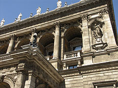 Detail of the front facade of the Budapest Opera House - Budapest, Hungary