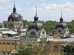 The domes of the Széchenyi Thermal Bath, as seen from the lookout tower of the Elephant House of Budapest Zoo - Budapest, Hungary