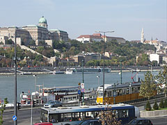 The view of the Danube bank at Pest downtown, the Danube River and the Buda Castle Quarter from the Elisabeth Bridge - Budapest, Hungary