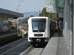 A new white Alstom metro train - Budapest, Hungary